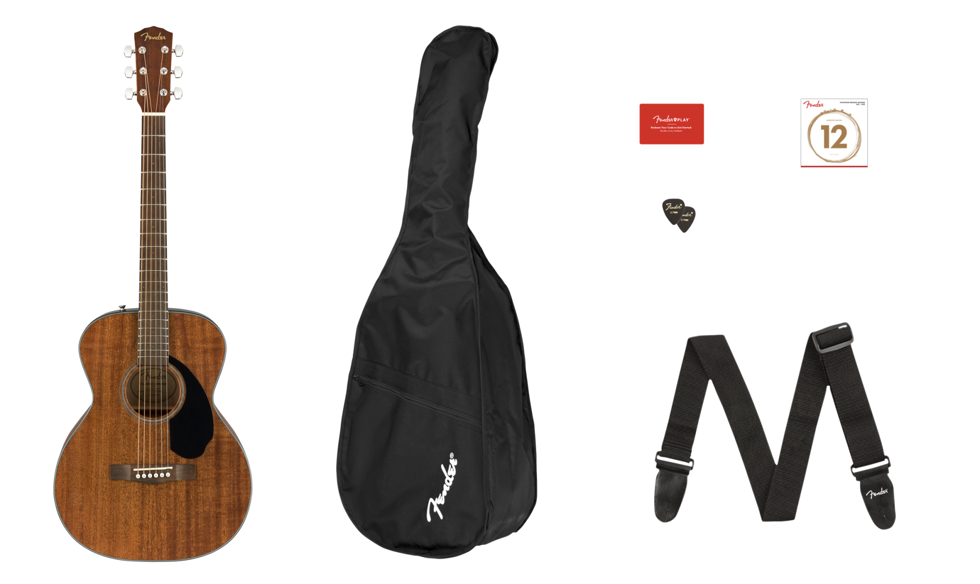 Fender Solid Mahogany Top Concert Acoustic Package