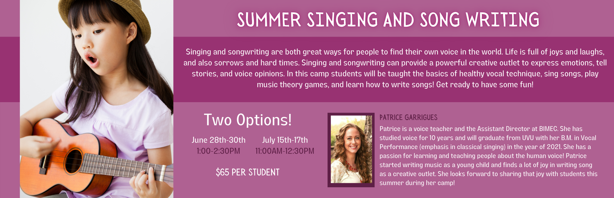 Summer Singing and Songwriting