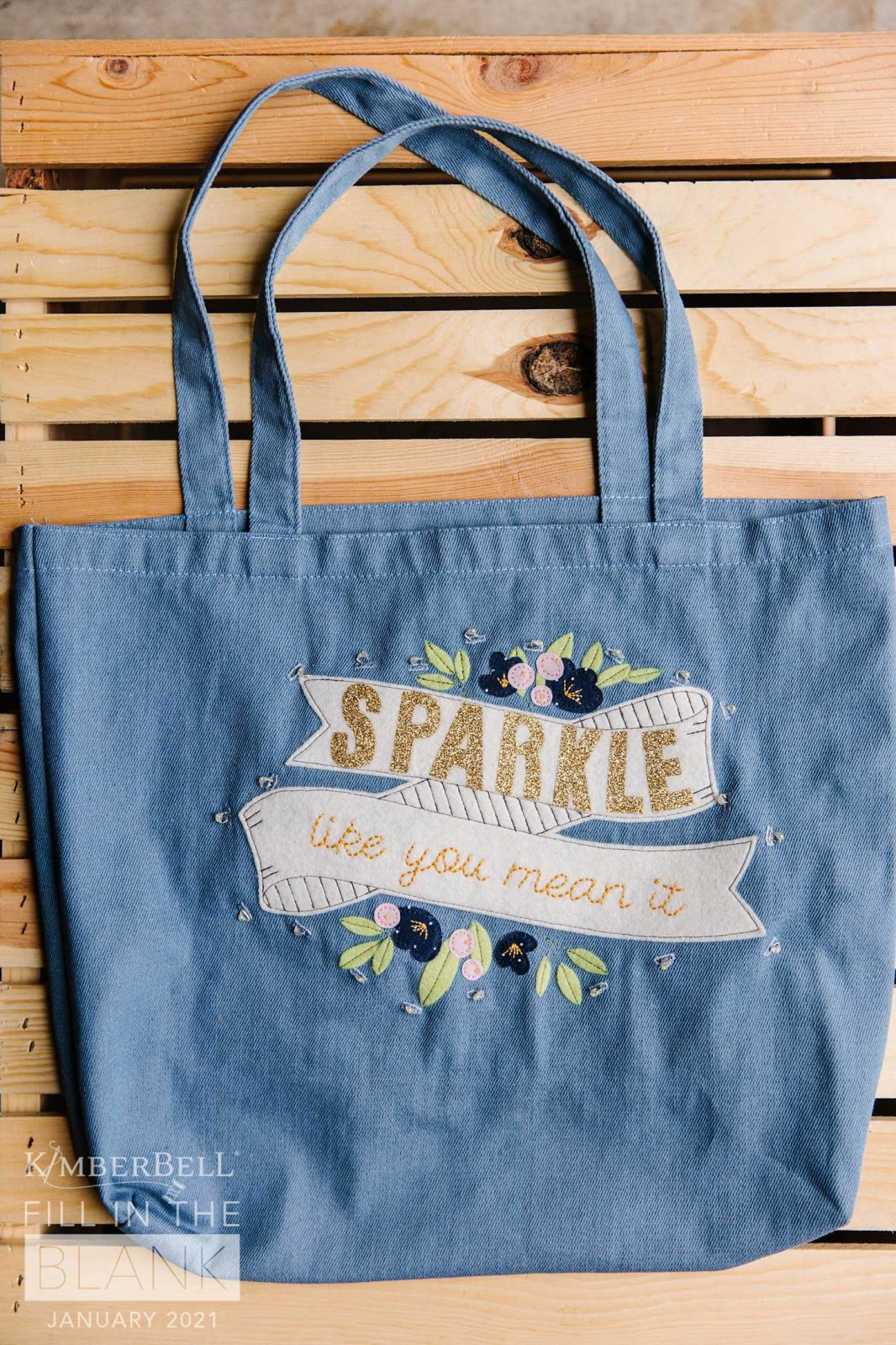 Kimberbell January Fill In The Blank Chambray Tote 15in x 17in