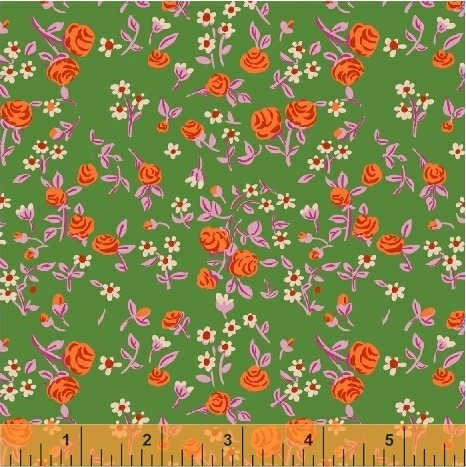 Heather Ross Trixie Mousies Floral Green