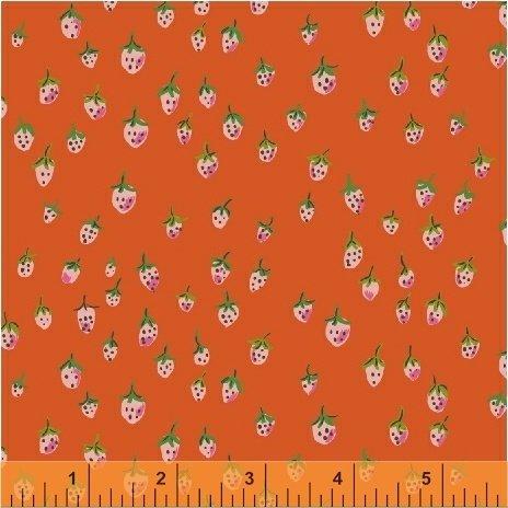 Heather Ross Trixie Field Strawberries Orange