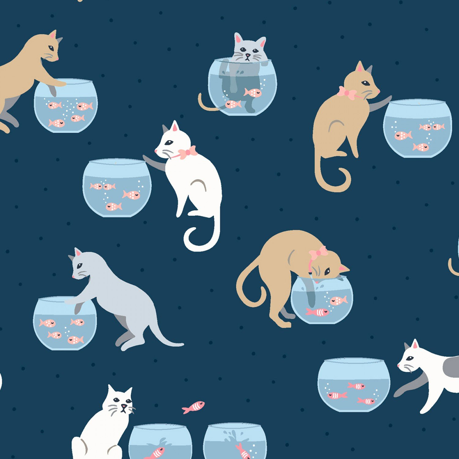 Are You Kitten Me Orion Cats & Fish Bowls - Dear Stella