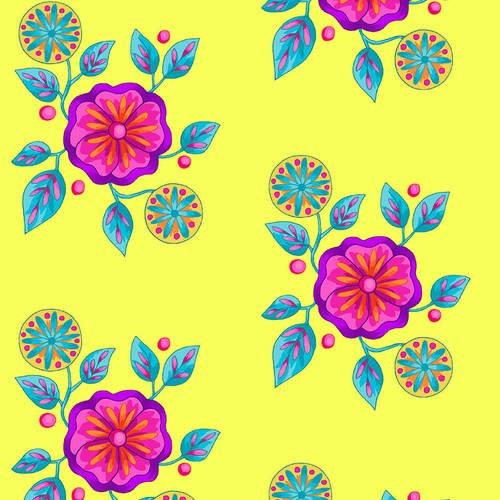 Petals Go Round by Angela Lawrence Lemon Large Floral