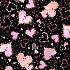 With Love Large Hearts Black 1649-26889-J