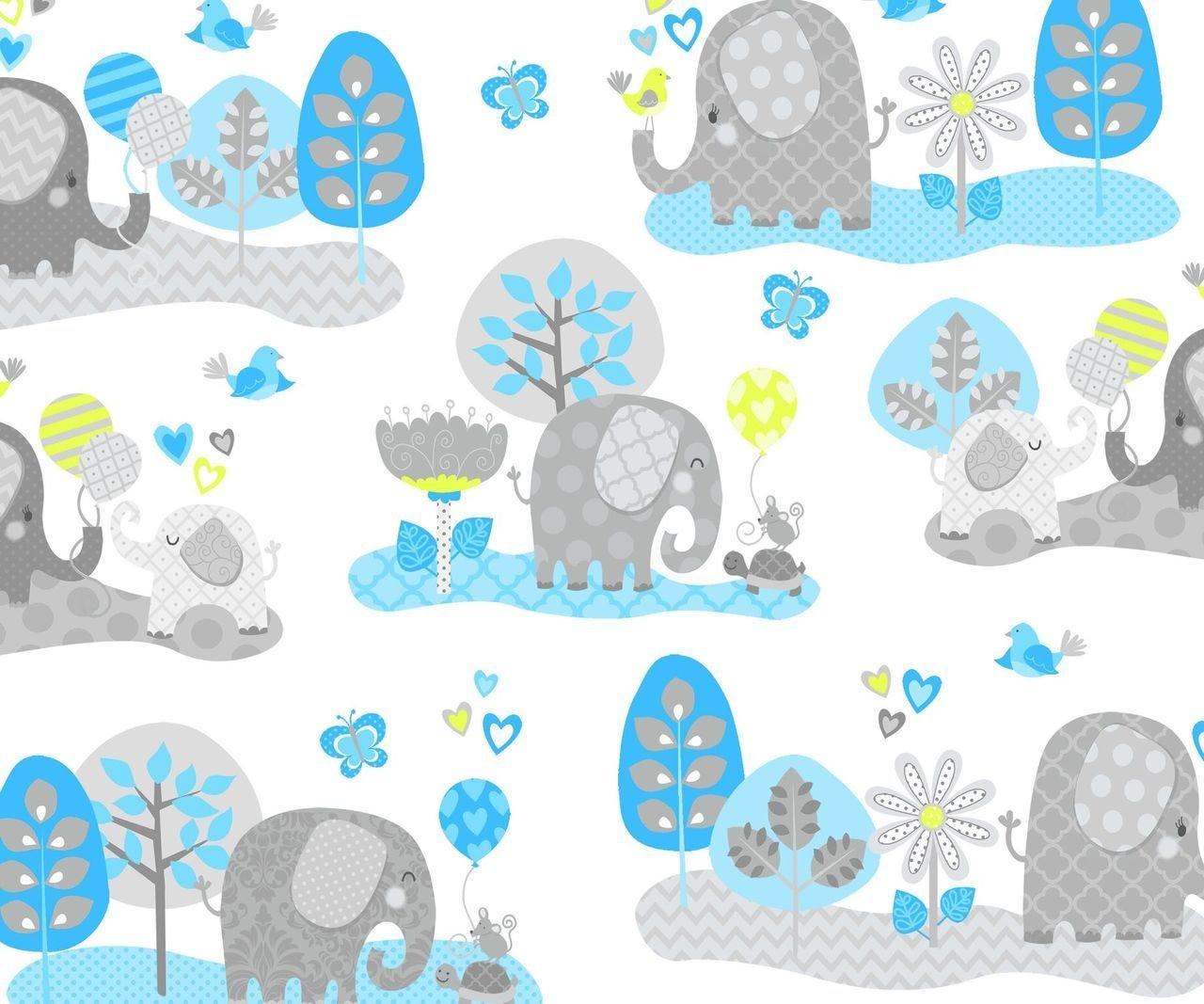 Hello Baby Elephant Scenic White/Turquoise F-4045-16