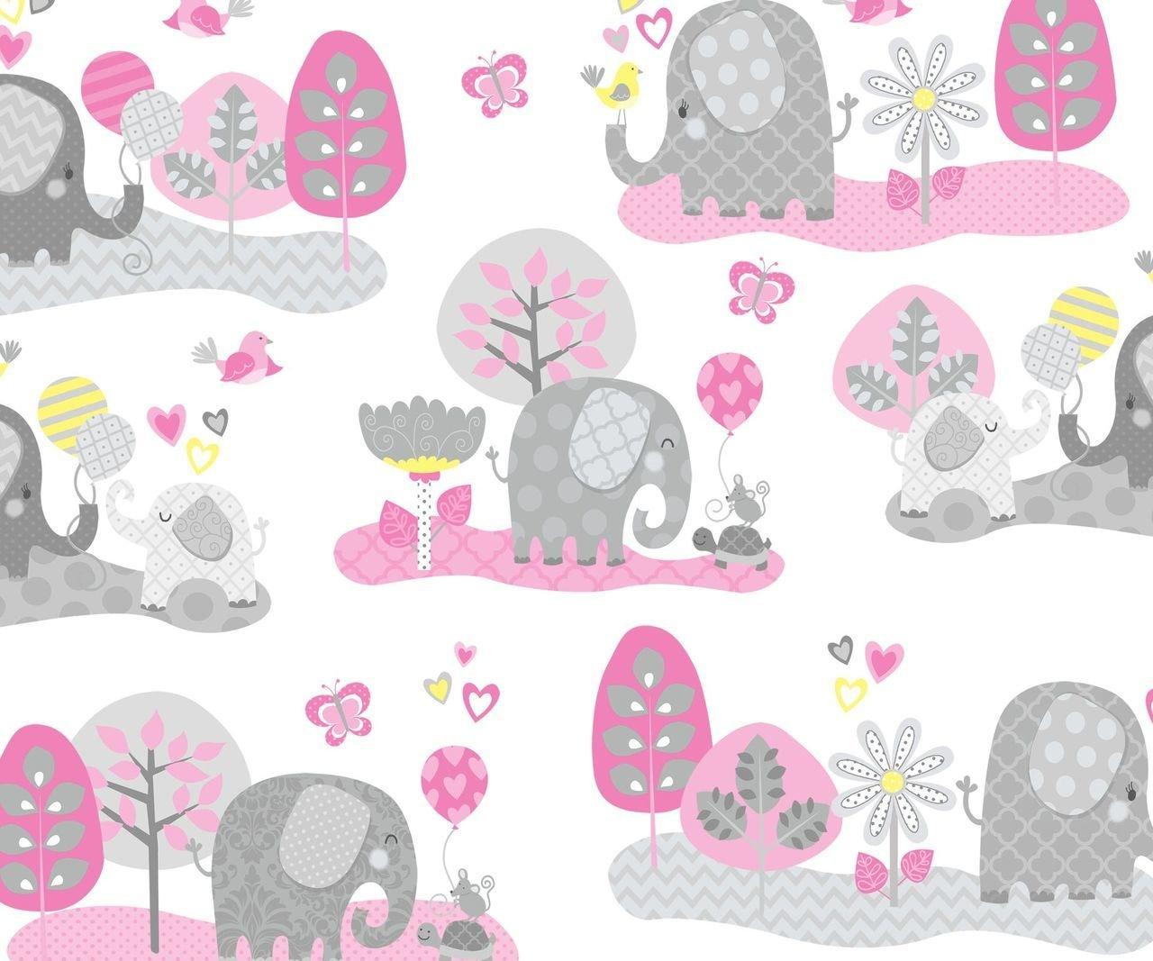 Hello Baby Elephant Scenic White/Pink F-4045-22