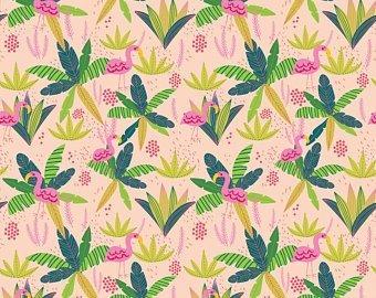 Mia Charo junglemania MC Jungle Flamingo Peach fabric