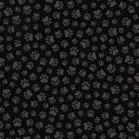 Quilting Illusions Paw Prints Black