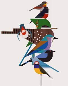 Keri designs Charley Harper Quilts  Rainforest Birds