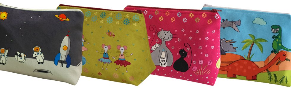 14 days a week Coin Purse Blue Cats Velvet + Step by Step