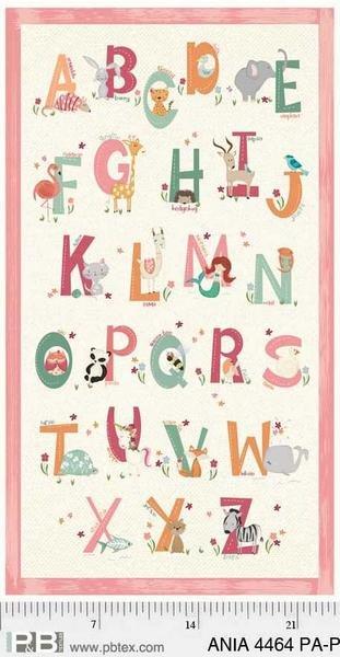 Animal Alphabet Panel Pink