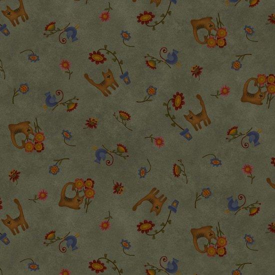 Folk Art Flannel, Whimsical Teal