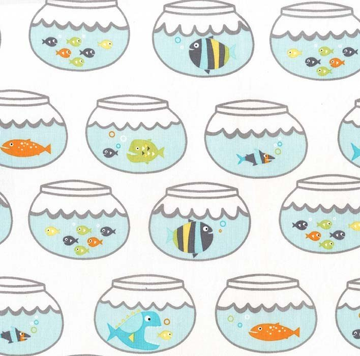 Guppies for Lunch Fish Bowl White