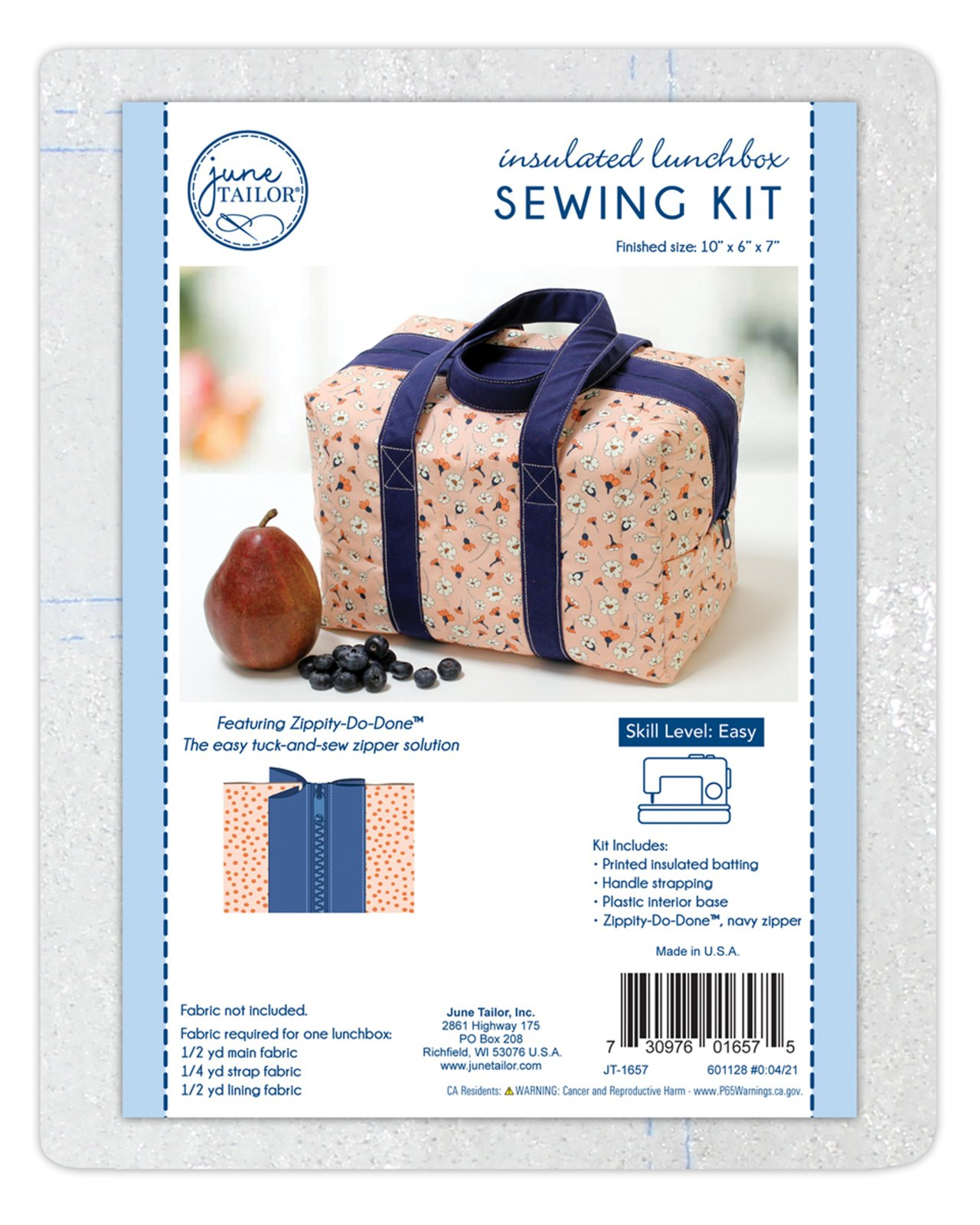 Insulated Lunchbox Sewing Tote, Zippity-Do-Done Navy