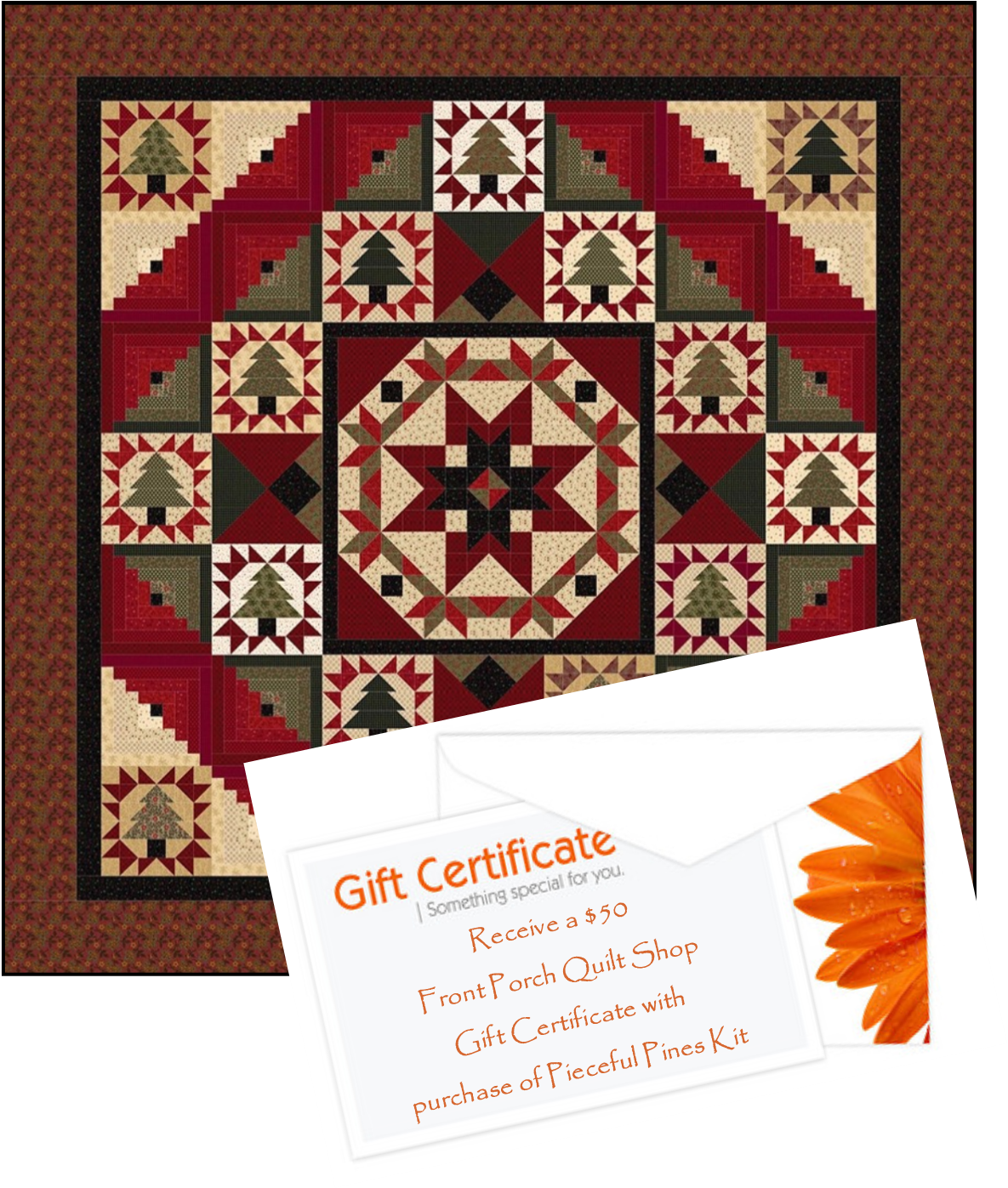 Pieceful Pines Kit PLUS $50 FPQ Gift Certificate