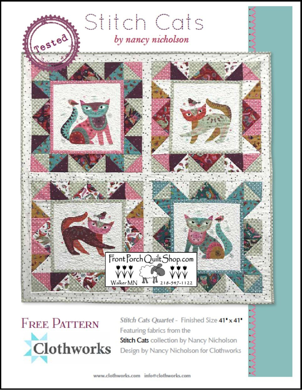 Stitch Cat Quarter Free Downloadable Pattern
