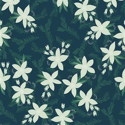 Yuletide Poinsettias Dark Teal