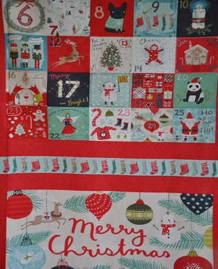 1907 4 Merry Christmas Panel Red
