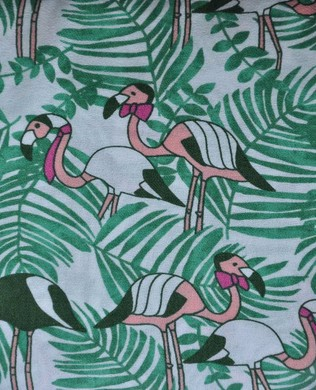 2A Green White Flamingoes