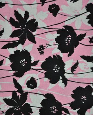 32099-1 Black Grey Pink Floral