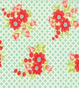 55146 12 Aqua Grid with Flowers