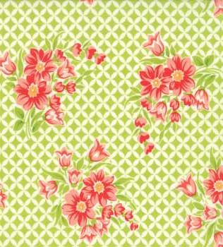 55146 14 Green Grid with Flowers