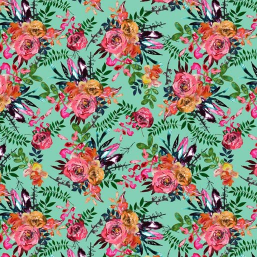 0129K Aqua Floral
