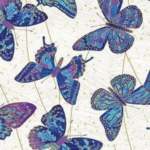 22957M 044 Cream Butterflies