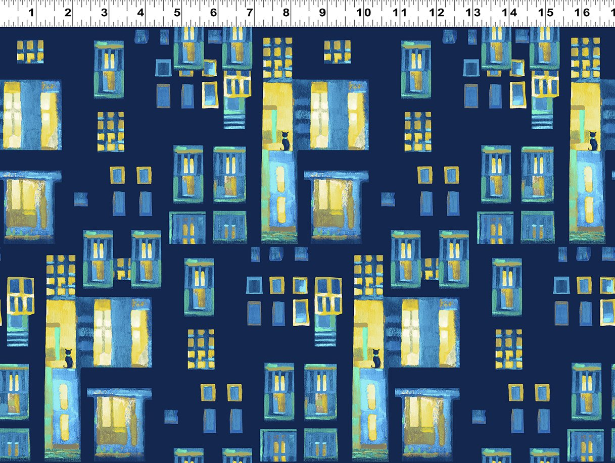 Cats in Windows Blue