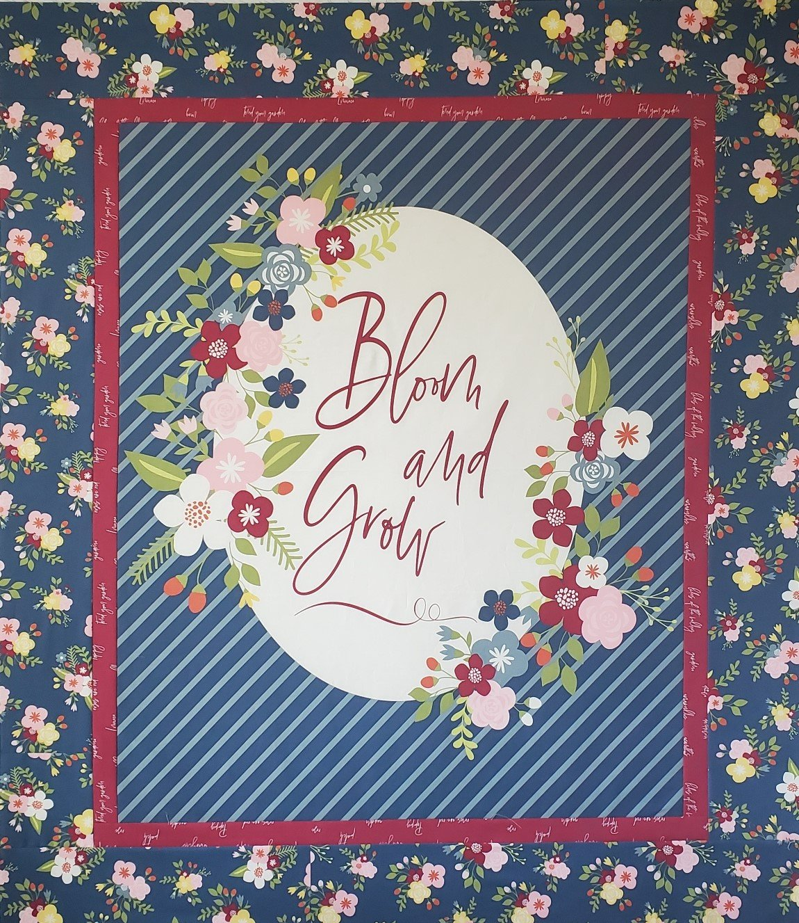 Navy  Bloom And Grow Panel Quilt Kit