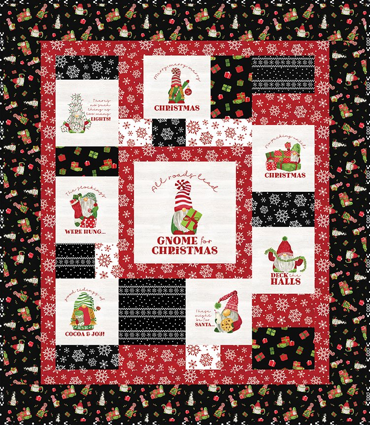 Gnome for Christmas Flannel Panel Quilt Kit