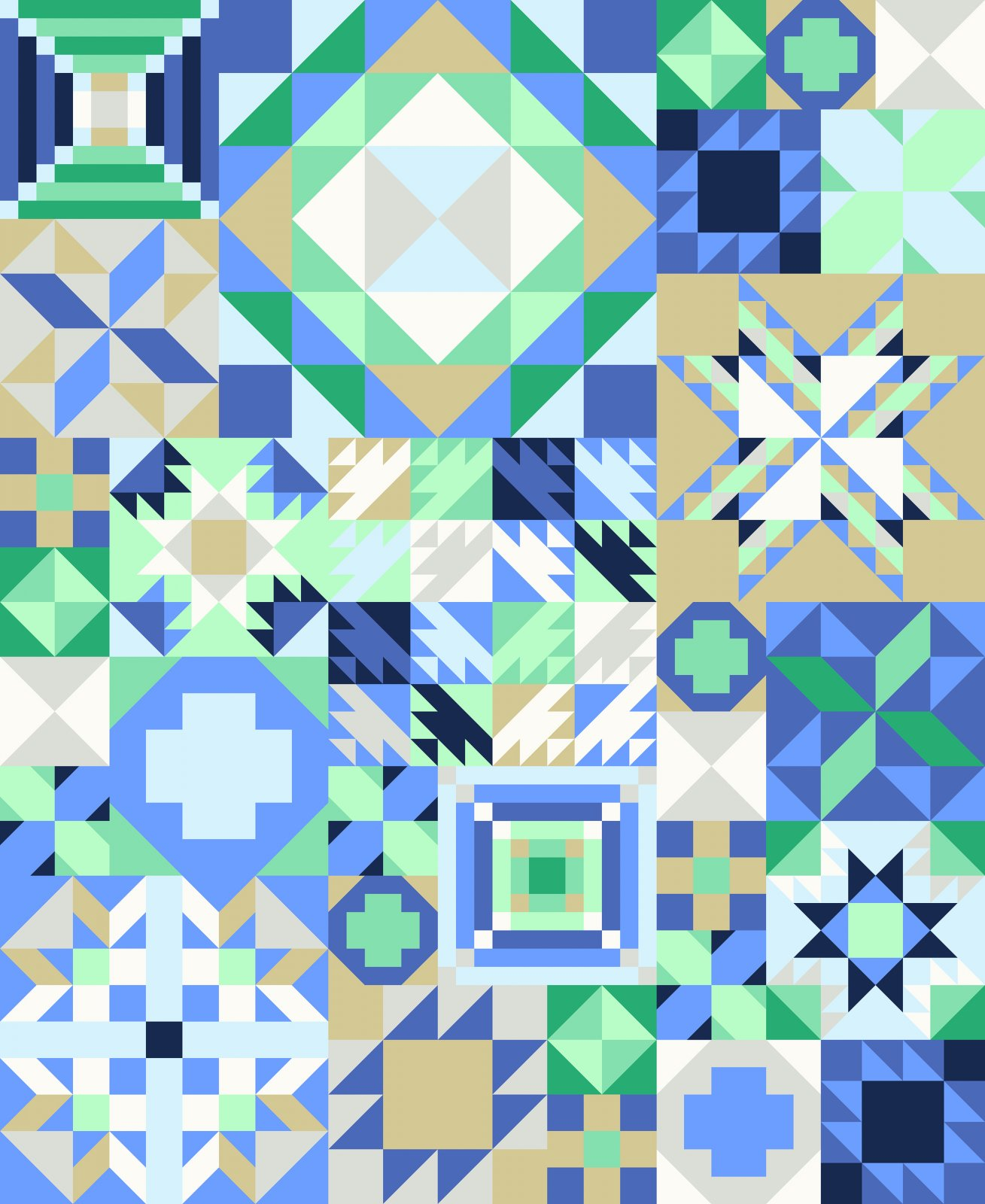Coastal Cool Quilt Kit for My Favorite Color is Moda Sew Along