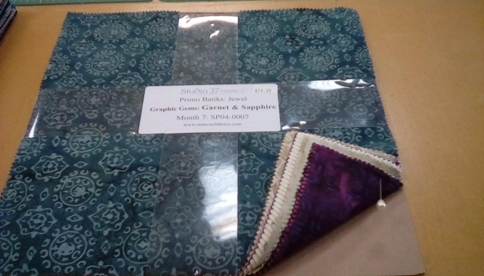 Primo Batiks:Jewel Graphic Gems: Garnet & Sapphire Month 7