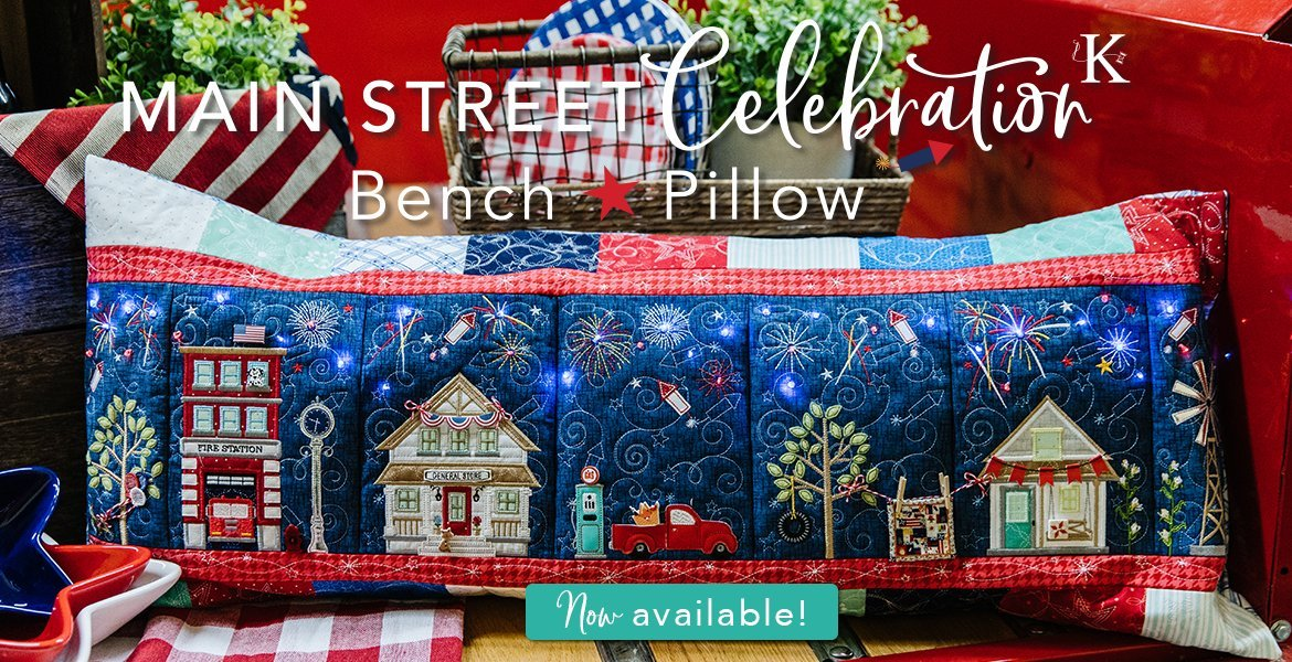 Main St Celebration Bench Pillow Embroidery