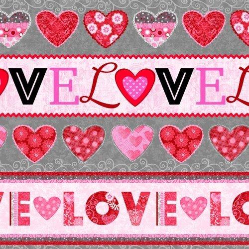 Hearts of Love Novelty Stripe