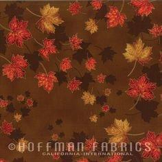 Hoffman Brown/Gold Leaves