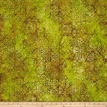Benartex Bali Batiks Meadow Song Medallions Lime/Cocoa