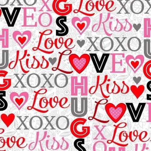 Hearts of Love Words XOXO
