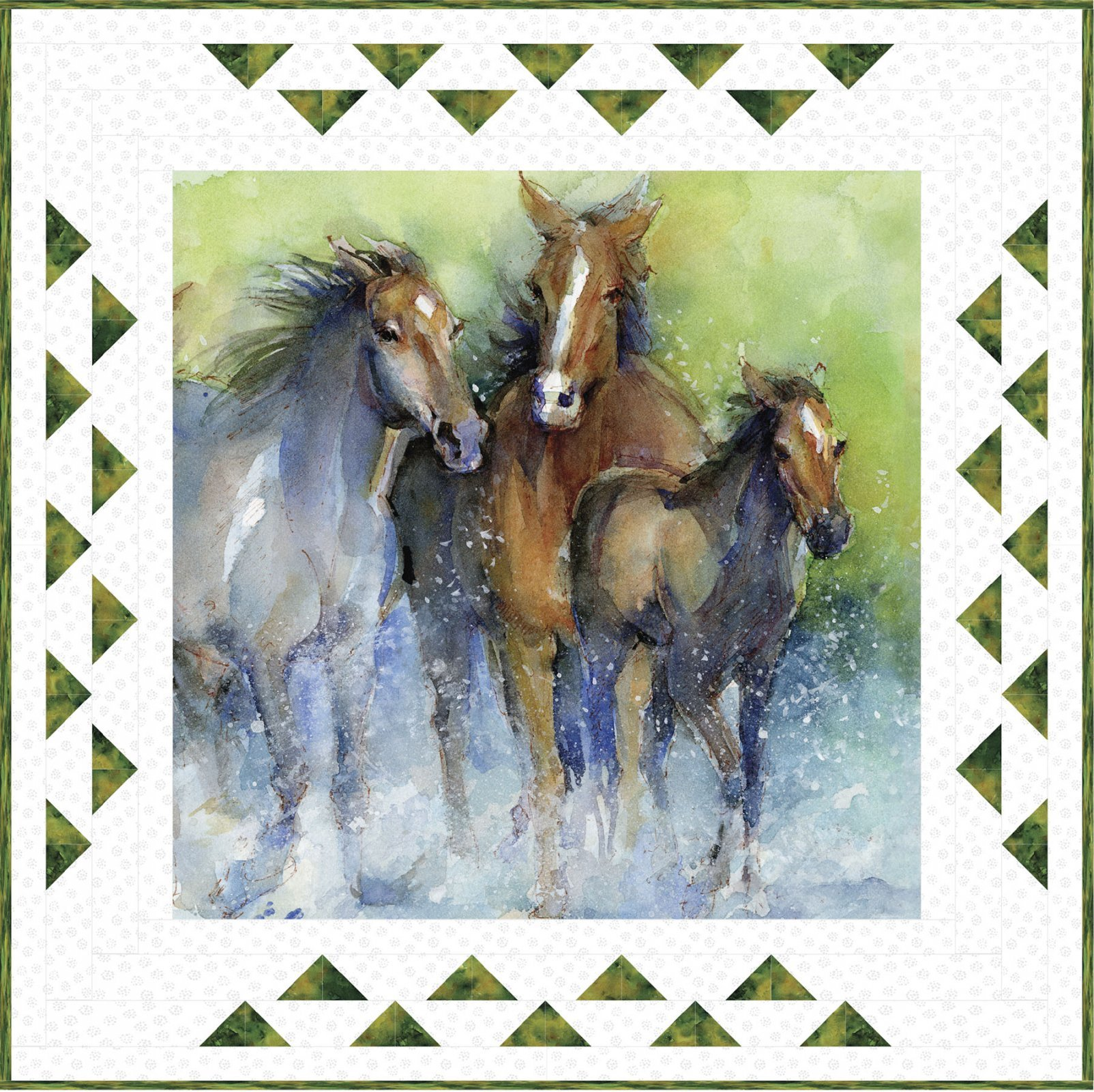 3 Wishes Fabric Running Horses Quilt (Free)
