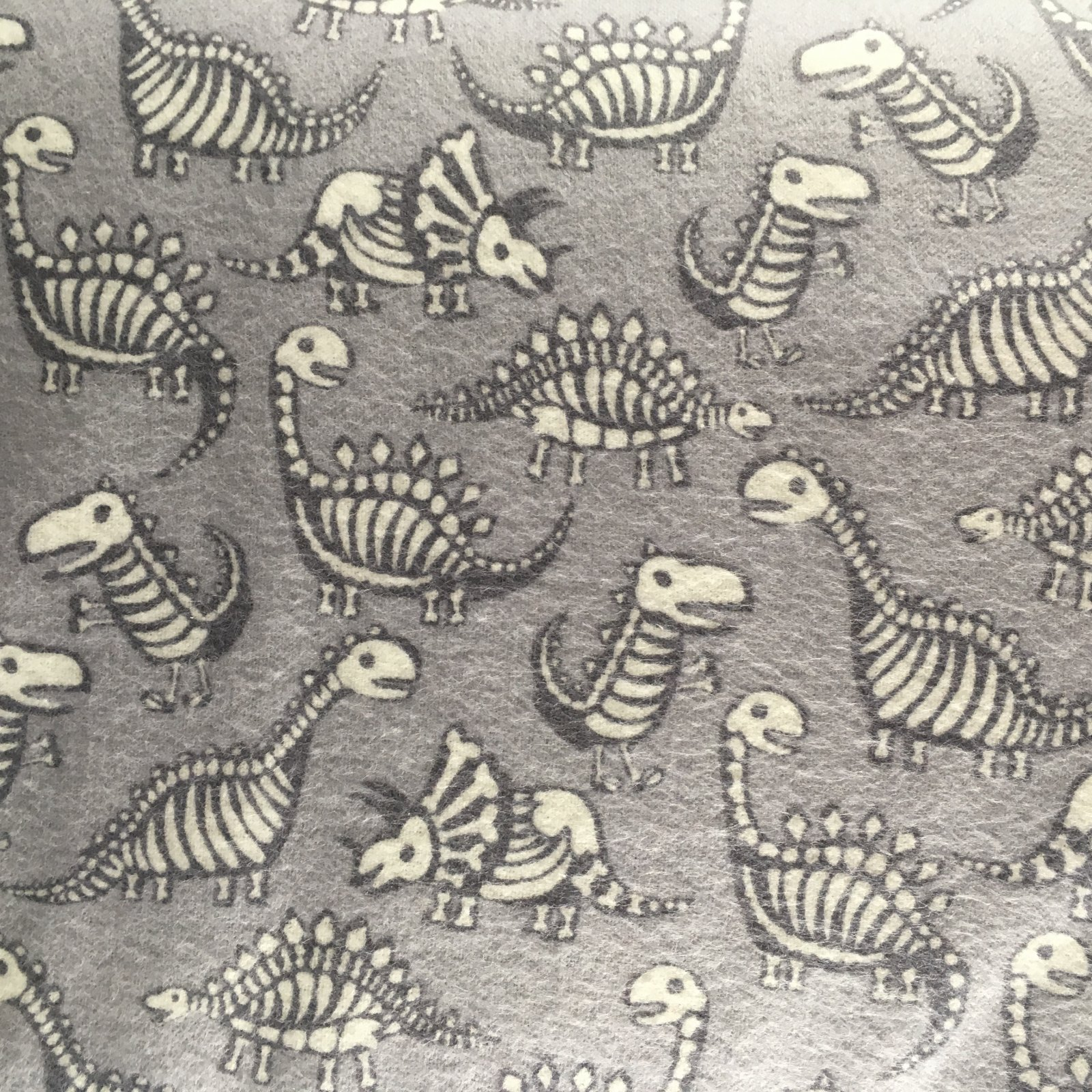 Flannel Grey Dino Skeletons