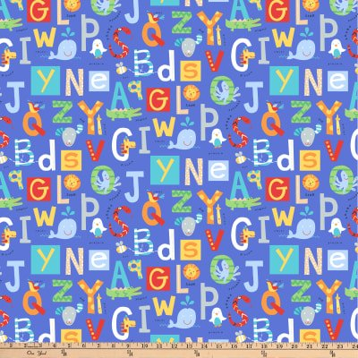 Northcott Alphabet Soup Animal ABCs Blue Fabric