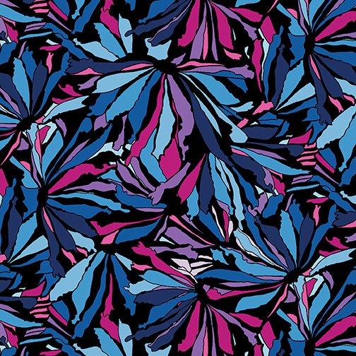 Midnight Poppies Mosaic Petals - Midnight/Fuchsia