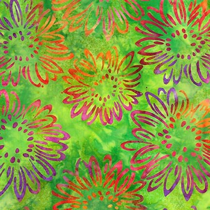Batik-Bright Blooms-Lime 68-50