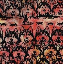 Batik-Dog Sled Black Rainbow 48-F