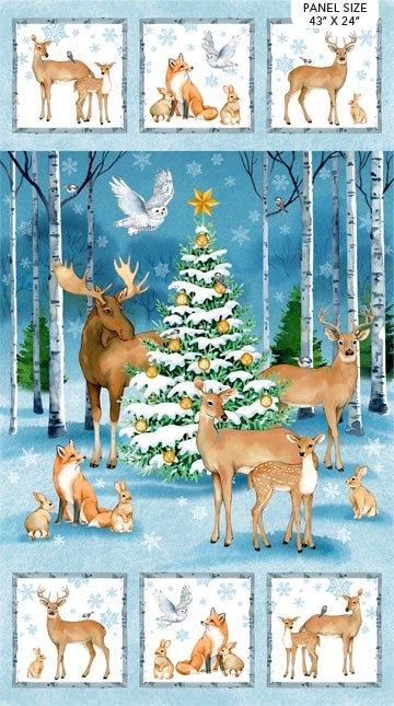 Christmas Woodland Panel-Digital 24 x 43