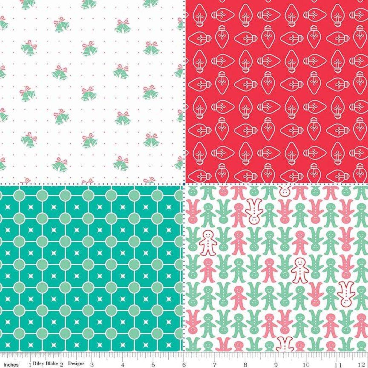Cozy Christmas Fat Quarter Panel Red