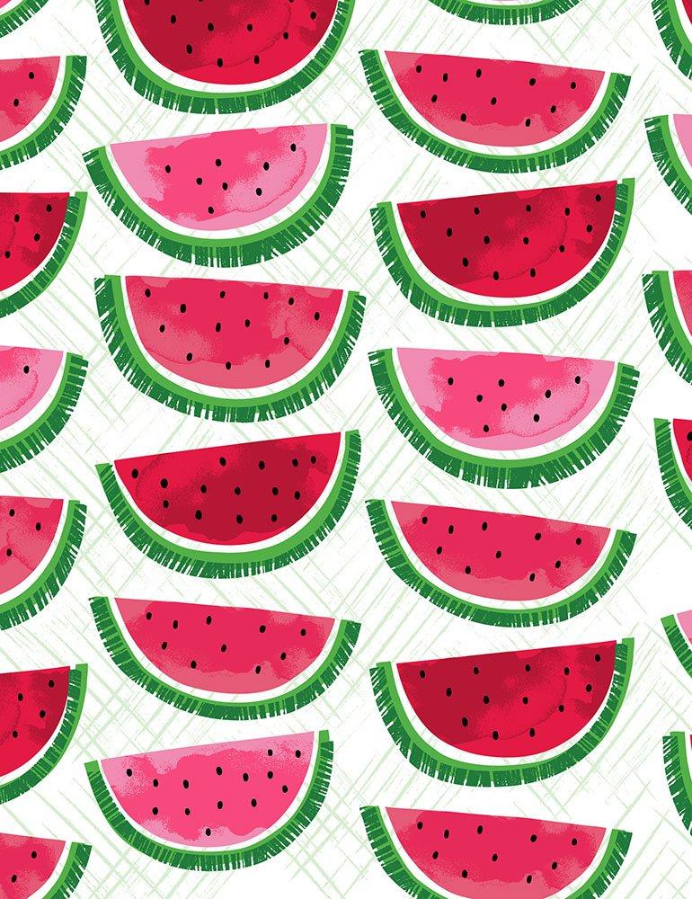 Watermelon on Cross Hatch-White 7333