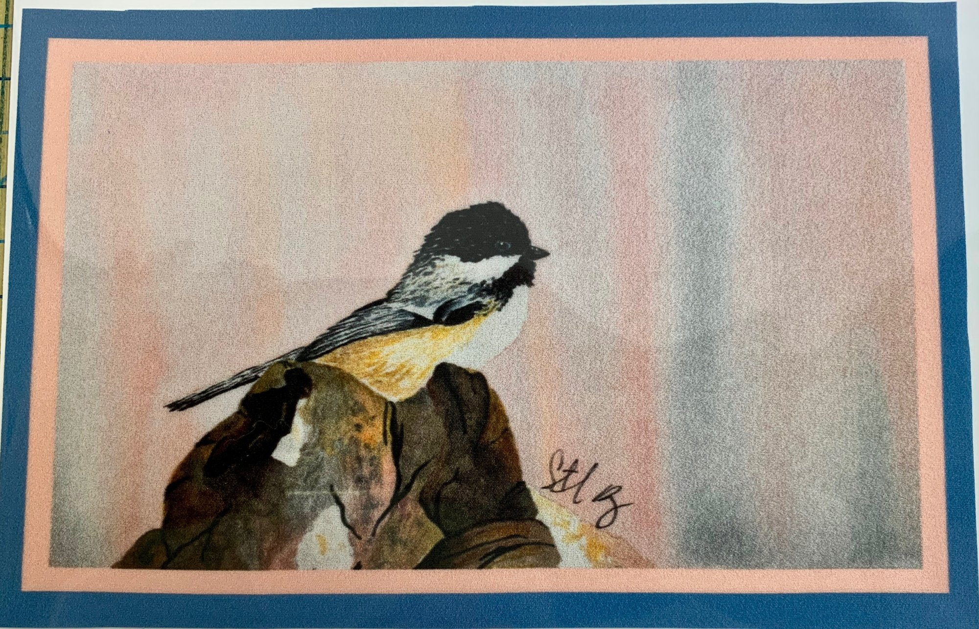 Chickadee Fabric Panel 5.5 x 8.5