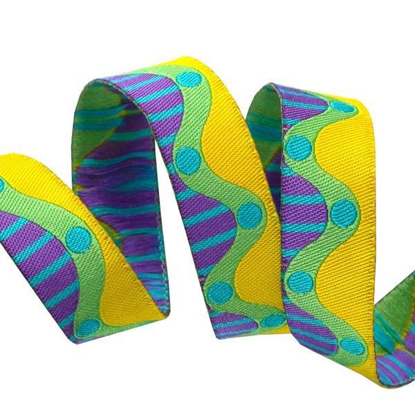 Ribbon-Wavy Dots-Yellow/Green/Purple 5/8
