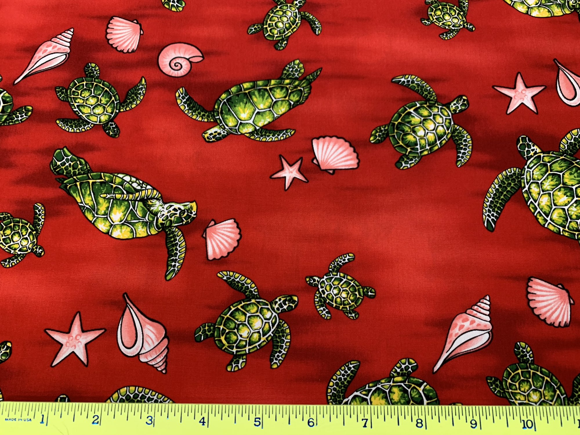 Turtles and Seashells (Red)